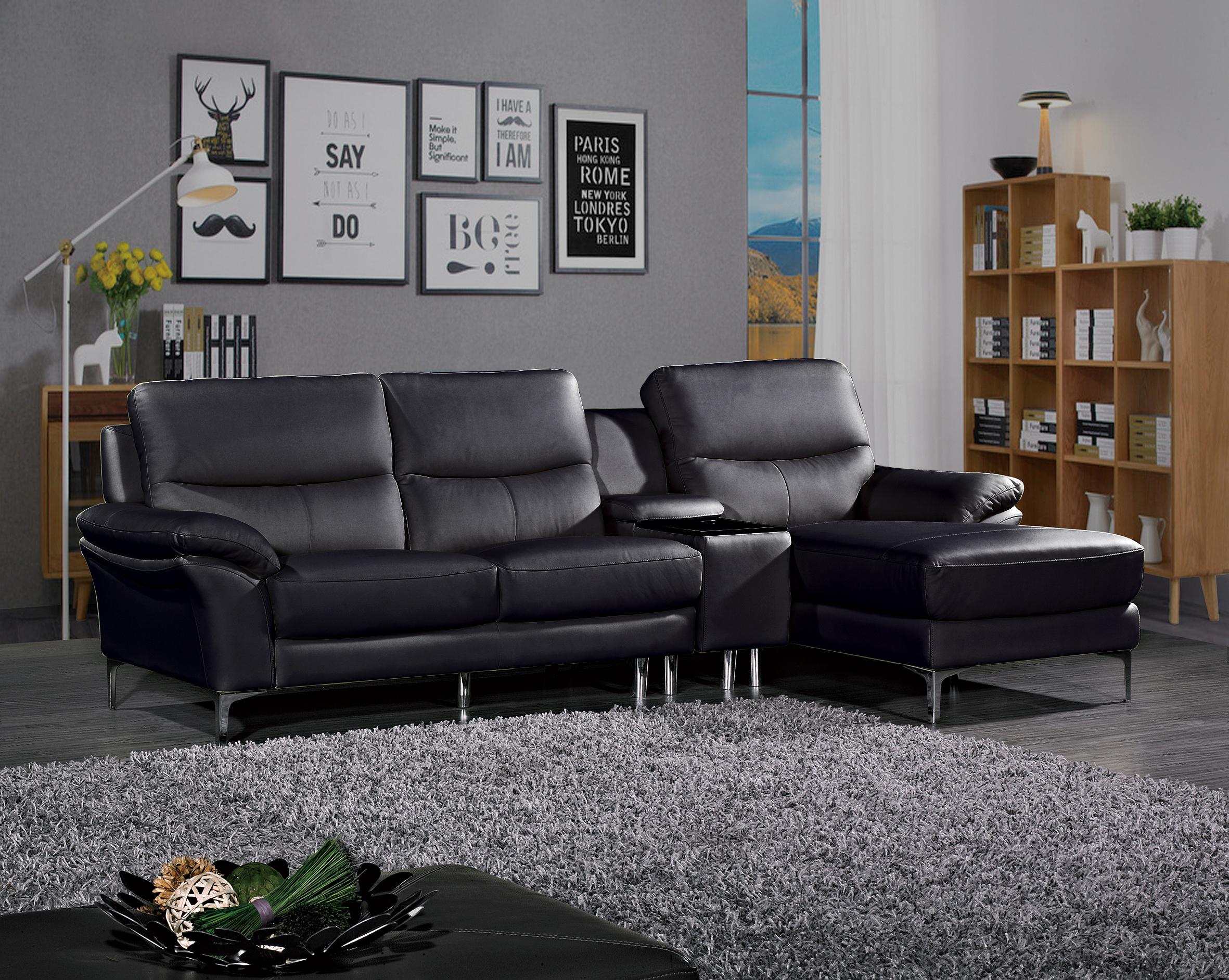 סנסציוני סלון עור אמיתי פינתי דגם מרטיני צבע שחור - GAROX - חנות רהיטים UC-97
