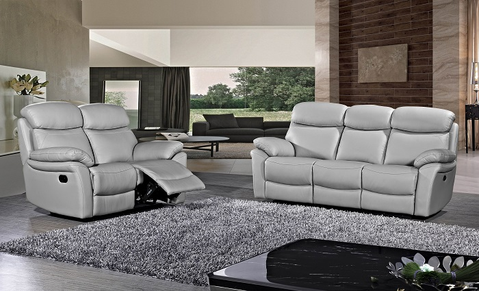 בלתי רגיל סלון עור אמיתי 2+3 בצבע אפור דגם ברצלונה - GAROX - חנות רהיטים WT-32